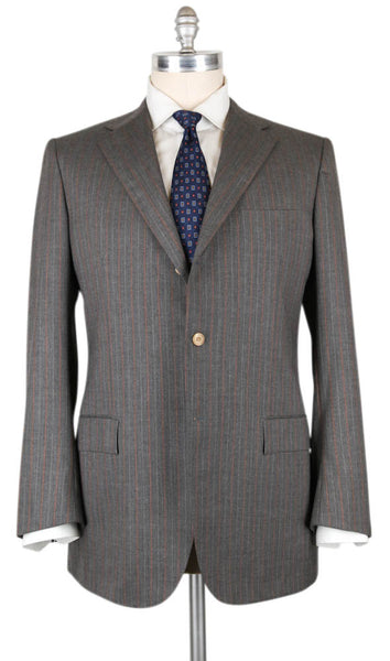 New $8700 Kiton Gray Cashmere Striped Suit - 45/55 - (UAB36616307L)