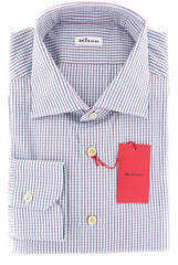 $600 Kiton Blue Micro-Check Shirt - Slim - (KTUCCH0481809FAA1) - Parent