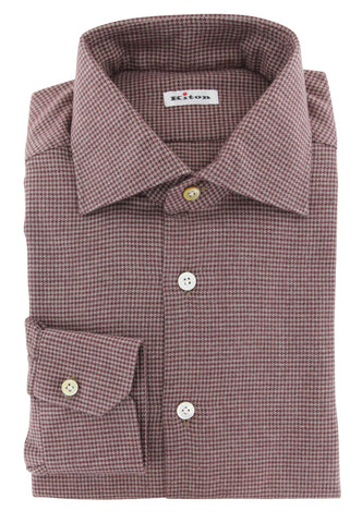 Kiton Burgundy Red Flannel Shirt - Slim