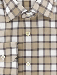 $600 Kiton Brown Check Cotton Shirt - Slim - (656) - Parent