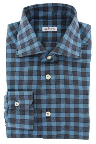 Kiton Blue Flannel Shirt - Slim