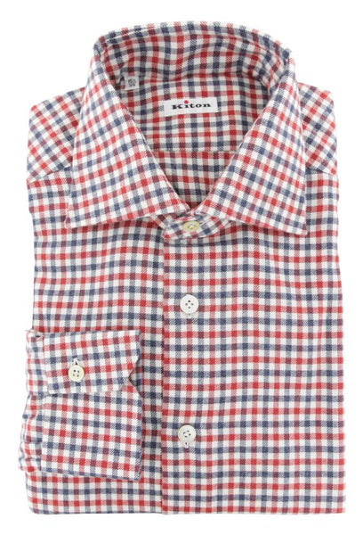 $600 Kiton Red Check Flannel Shirt - Slim - (663) - Parent