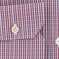 $600 Kiton Red Plaid Cotton Shirt - Slim - (675) - Parent