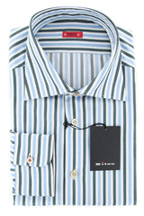 $600 Kiton Green Striped Shirt - Slim - Size 16 1/2 (US) / 42 (EU) - (KT1211176)
