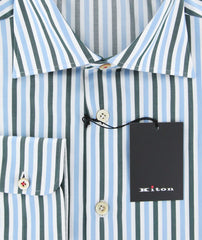 New $600 Kiton Green Striped Shirt - Slim - (KT1211176) - Parent