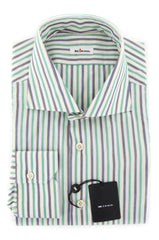 New $600 Kiton Green Striped Shirt - Slim - (UCCH383403A1W) - Parent