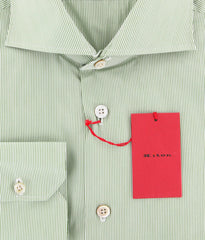 $600 Kiton Green Striped Shirt - Slim - (KT-UCCH427407CCA1) - Parent