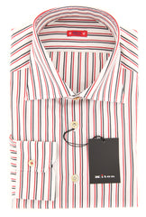 $600 Kiton Off White Striped Shirt - Slim - Size 16 (US) / 41 (EU) - (KT1212175)
