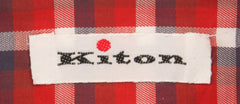 $600 Kiton Red Plaid Shirt - Slim - (KT-H445105EEA1) - Parent