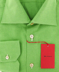 $600 Kiton Green Solid Shirt - Slim - (KT-UCC-H4495-03-EE) - Parent