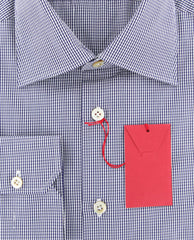 New $600 Kiton Blue Micro-Check Shirt - Slim - (KT126179) - Parent