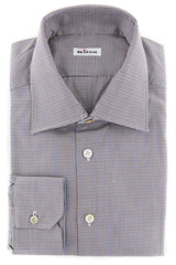 New $600 Kiton Brown Micro-Houndstooth Shirt - Slim - 16.5/42 - (KT113175)