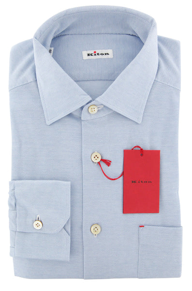 New $600 Kiton Light Blue Solid Shirt - Slim - (KT125175) - Parent