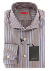 $600 Kiton Brown Striped Shirt - Slim - Size 16 (US) / 41 (EU) - (KT12121711)