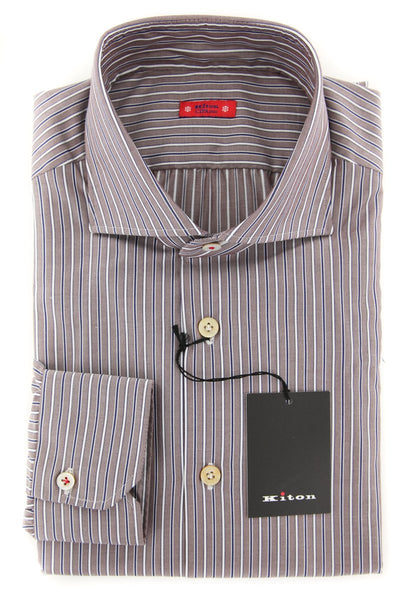 New $600 Kiton Brown Striped Shirt - Slim - (KT12121711) - Parent