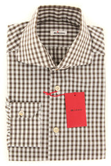 $600 Kiton Brown Check Shirt - Slim - S/S - (KTUCM-H430108MBA1)