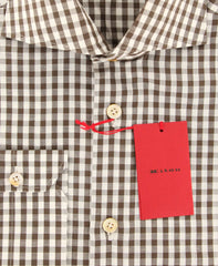 $600 Kiton Brown Check Shirt - Slim - (KTUCM-H430108MBA1) - Parent