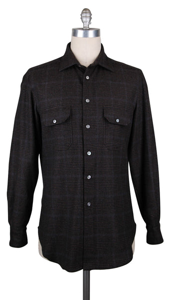 New $2700 Kiton Dark Brown Plaid Shirt - Full - (KTUCWM1I8831) - Parent