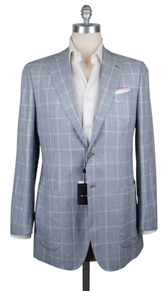 New $6600 Kiton Blue Linen Blend Plaid Sportcoat - (UG2067C8808R8) - Parent