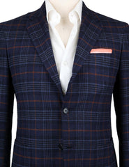 New $7200 Kiton Navy Blue Cashmere Plaid Sportcoat - (KT891I252R7) - Parent