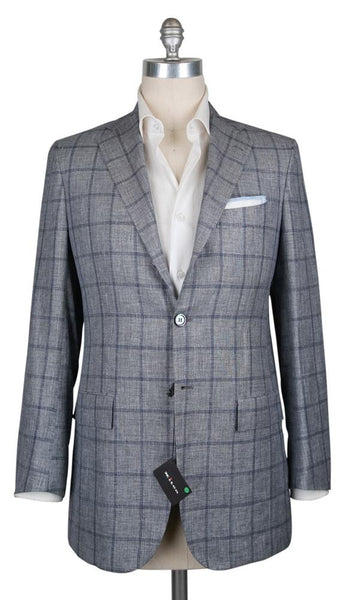 New $6000 Kiton Navy Blue Window Pane Sportcoat - (UG896D1313R7) - Parent
