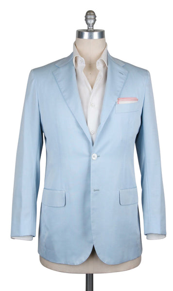 New $5700 Kiton Light Blue Cotton Blend Solid Sportcoat - (UG896F166R7) - Parent