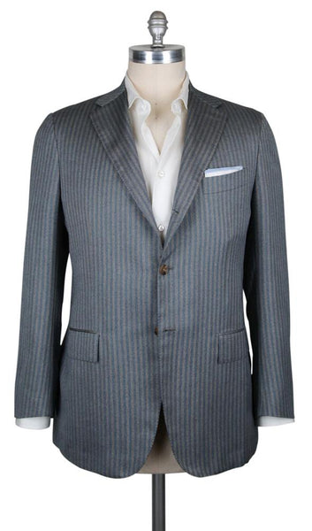 New $6300 Kiton Gray Cashmere Blend Striped Sportcoat - (UG906F004R7) - Parent