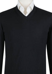 $1800 Kiton Black Cashmere Blend V-Neck Sweater - (782) - Parent