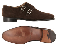 New $2850 Kiton Brown Suede Shoes - Double Monk Straps - (USS945C0104) - Parent