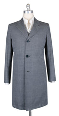 New $6900 Kiton Blue Cotton Houndstooth Coat -  40/50 - (USCPRC7G2404)