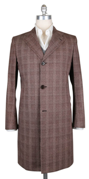 $6900 Kiton Brown Cotton Plaid Coat - Size M (US) / 50 (EU) - (USCPRC7G2405)