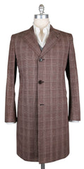 New $6900 Kiton Brown Cotton Plaid Coat -  40/50 - (USCPRC7G2405)