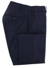 New $600 Luigi Borrelli Navy Blue Pants - Slim - 44/60 - (10SLIMCERNRCP100570)