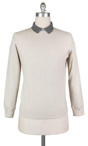 New $600 Luigi Borrelli Beige Sweater - Crewneck - Small/48 - (12MG13300304)