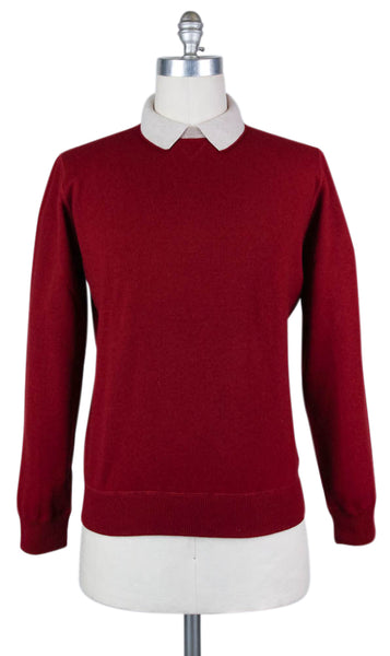 New $600 Luigi Borrelli Burgundy Red Sweater - Small/48 - (12MG13300315)