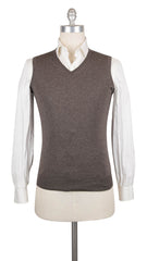 $375 Luigi Borrelli Brown Cashmere Solid Sweater Vest - S/S - (793)