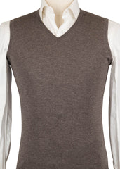 $375 Luigi Borrelli Brown Cashmere Solid Sweater Vest - (793) - Parent