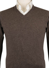 $775 Luigi Borrelli Brown Cashmere Sweater - V-Neck Pullover - (705) - Parent