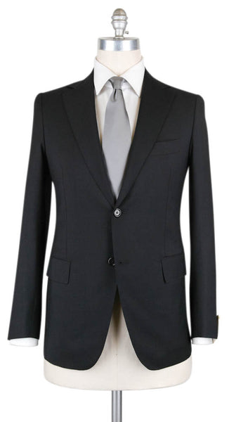 New $4500 Luigi Borrelli Black Wool Solid Suit - 42/52 - (2B62541101LIPARI)