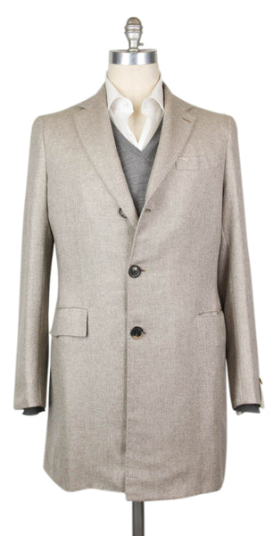 Luigi Borrelli Light Brown Coat - 40 US / 50 EU  Wool & Blends - ShopTheFinest- Luxury  Italian Designer Brands for men