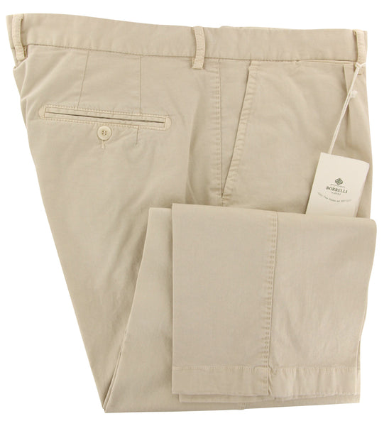 New $400 Luigi Borrelli Beige Solid Pants - Slim - (50SLIMCERNP100160) - Parent