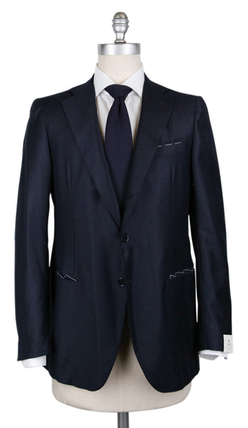 New $4200 Borrelli Midnight Navy Blue Wool Blend Striped Suit - (201803094) - Parent