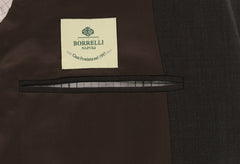 New $3900 Borrelli Dark Brown Wool Pick and Pick Suit - (201803091) - Parent