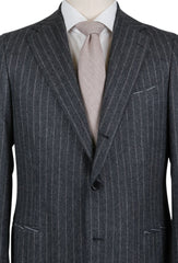 New $4500 Borrelli Gray Wool Striped Suit - (201803086) - Parent