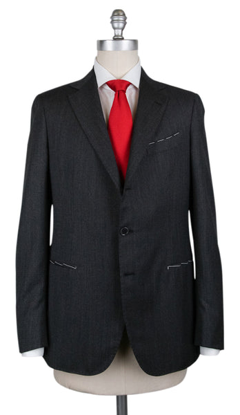 New $4200 Borrelli Charcoal Gray Wool Fancy Suit - (201803122) - Parent