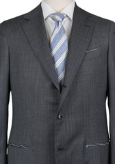 New $4200 Borrelli Charcoal Gray Virgin Wool Striped Suit - (201803123) - Parent