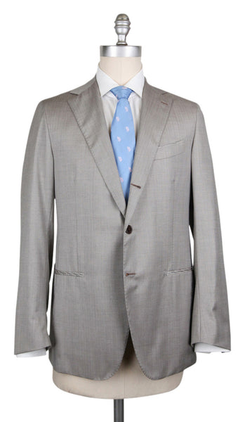 New $6000 Luigi Borrelli Cream Wool Blend Solid Suit - (CA817175) - Parent