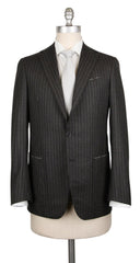 New $4800 Borrelli Charcoal Gray Wool Striped Suit - (201803083) - Parent