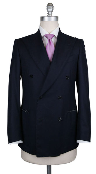 New $3300 Luigi Borrelli Navy Blue Wool Solid Suit - (LBC135770R7) - Parent