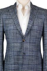 New $3000 Luigi Borrelli Blue Plaid Sportcoat -  38/48 - (B32281214R8)